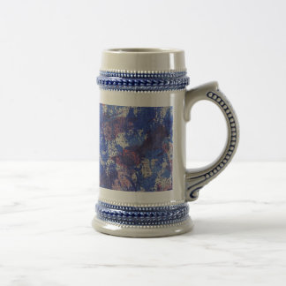 Blue and Red Watercolor Beer Stein