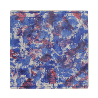 Blue and Red Watercolor Maple Wood Coaster