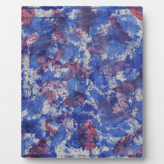 Blue and Red Watercolor Plaque
