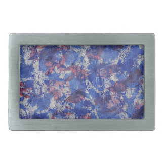Blue and Red Watercolor Rectangular Belt Buckle