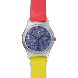 Blue and Red Watercolor Wrist Watch
