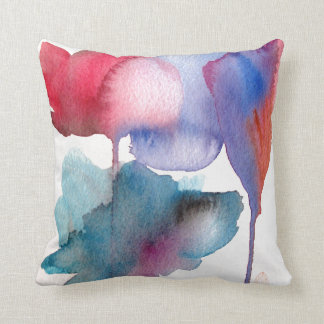 Blue and red watercolour floral large flowers throw pillow