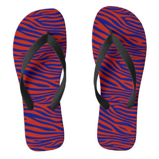 Blue and Red Zebra Flip Flops
