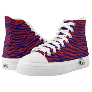 Blue and Red Zebra High Tops