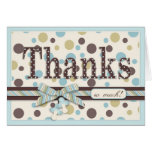 Blue and Sage Polka Dots Thank You Baby Shower Greeting Cards