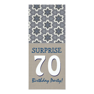 Blue and Sand Modern 70th Surprise Birthday Party 10 Cm X 24 Cm Invitation Card