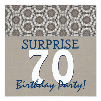 Blue and Sand Modern 70th Surprise Birthday Party 13 Cm X 13 Cm Square Invitation Card