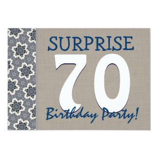 Blue and Sand Modern 70th Surprise Birthday Party 13 Cm X 18 Cm Invitation Card