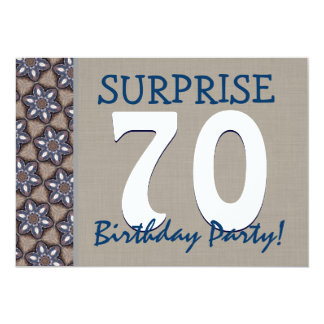 Blue and Sand Modern 70th Surprise Birthday Party Cards