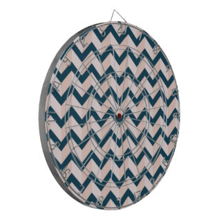 Blue and Shades of Pink Chevron Pattern Dartboard
