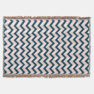 Blue and Shades of Pink Chevron Pattern Throw Blanket