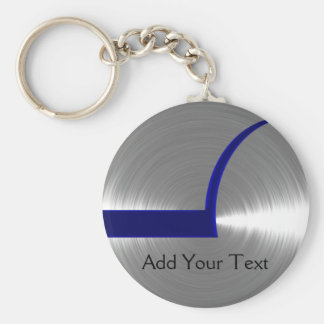 Blue and Silver Brushed Metal Basic Round Button Key Ring
