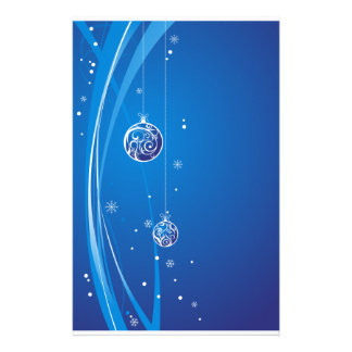 Blue and Silver Christmas Baubles Stationery Paper