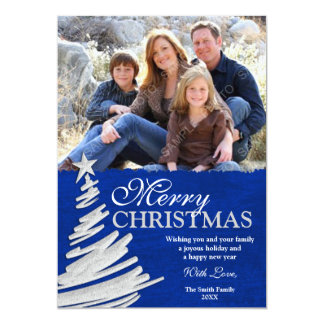 Blue and Silver Christmas Tree Holiday Photo Card 13 Cm X 18 Cm Invitation Card