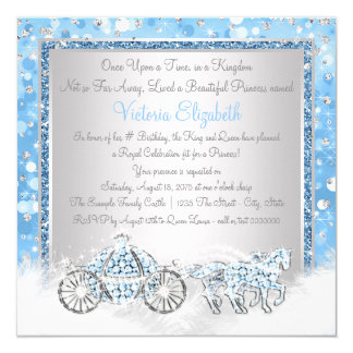 Blue and Silver Cinderella Princess Birthday Party 13 Cm X 13 Cm Square Invitation Card