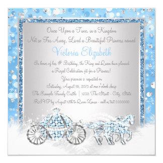 Blue and Silver Cinderella Princess Birthday Party Card
