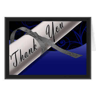 Blue and Silver Diploma Thank You Card