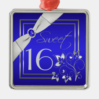 Blue and Silver Floral Sweet Sixteen Ornament