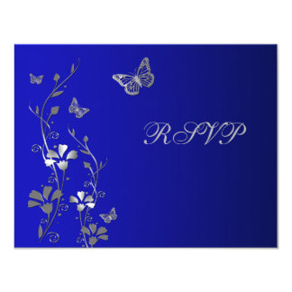 Blue and Silver Floral with Butterflies Reply Card 11 Cm X 14 Cm Invitation Card
