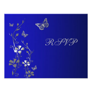 Blue and Silver Floral with Butterflies Reply Card Invites