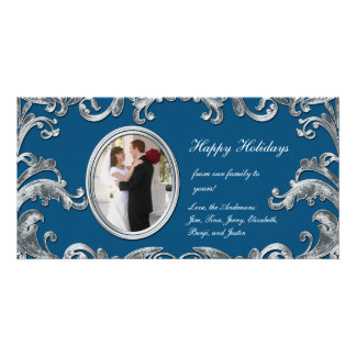 Blue and Silver Flourishes Photo Card