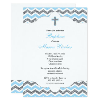 Blue and Silver Glitter Boy Baptism Christening Card