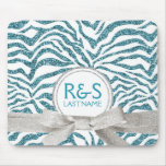 Blue and Silver Glitter Look Personalised Couple Mouse Pad