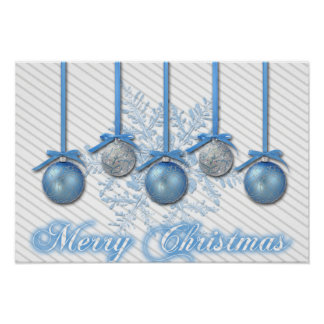 Blue and Silver Glitter Ornaments Poster