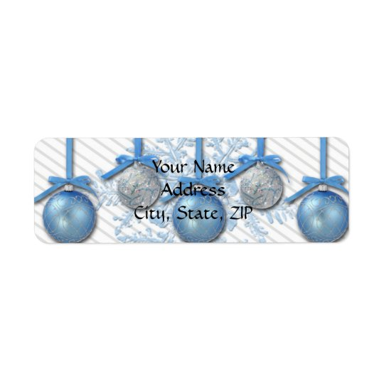 Blue and Silver Glitter Ornaments Return Address Label