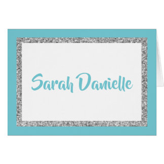 Blue and Silver Glitter Thank you Card