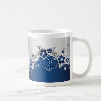 Blue and Silver Gray Floral Basic White Mug