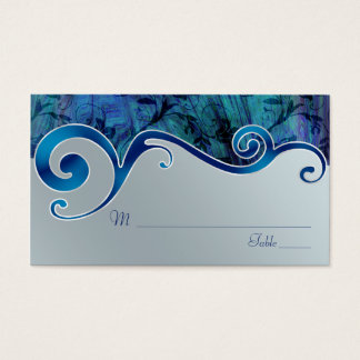 Blue and Silver Grey Wedding Place Cards