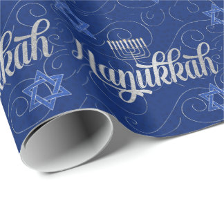 Blue and Silver Hanukkah with Swirls Star of David Wrapping Paper