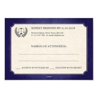 Blue and Silver Legal/Law School Graduation RSVP 9 Cm X 13 Cm Invitation Card
