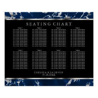 Blue and Silver Marble - Seating Chart Poster