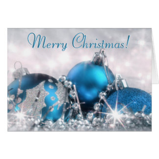 Blue and Silver Merry Christmas Greeting Card