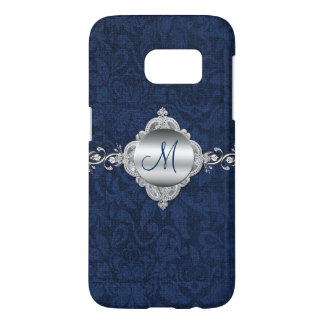 Blue and Silver Monogram Samsung Galaxy S7 Case