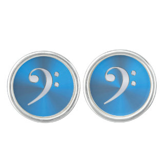 Blue and Silver Music Bass Clef Cufflinks