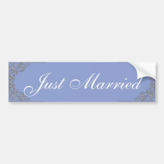 Blue and silver ornate wedding bumper sticker