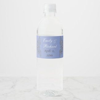 Blue and silver ornate wedding water bottle label