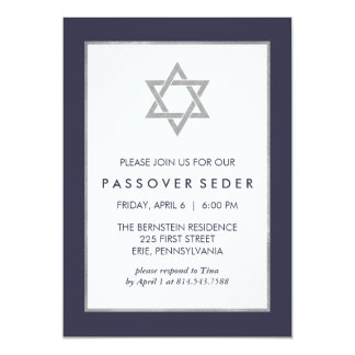 Blue and Silver Passover Seder with Star of David Card