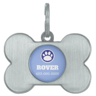 Blue and Silver Paw Print Pet Tag