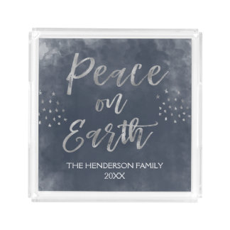 Blue and Silver Peace on Earth Christmas Acrylic Tray