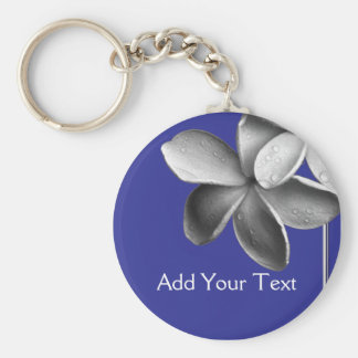 Blue and Silver Plumeria Key Ring