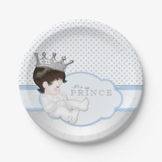 Blue and Silver Prince Baby Shower Paper Plate