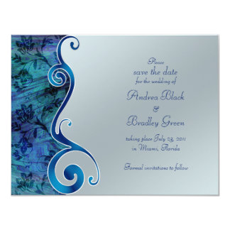Blue and Silver Reflections Save the Date Card 11 Cm X 14 Cm Invitation Card