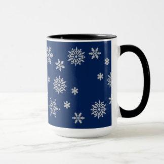 Blue and Silver Snowflakes Mug