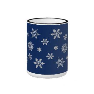 Blue and Silver Snowflakes Coffee Mug