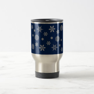 Blue and Silver Snowflakes Stainless Steel Travel Mug