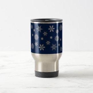 Blue and Silver Snowflakes Travel Mug